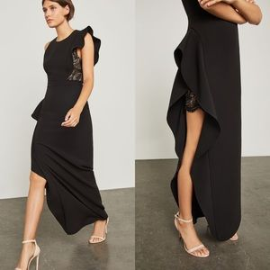 BCBG Ruffled asymmetric black dress, size 2